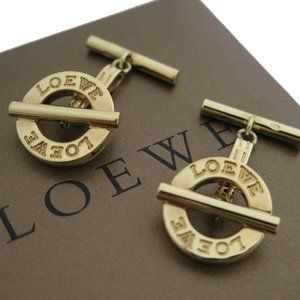 Auth LOEWE Logo Cuff Links Gold tone Sterling